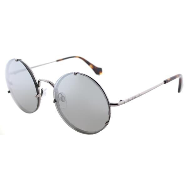 26055db27345e Balenciaga BA 0086 14C Shiny Light Ruthenium Metal Round Sunglasses with  Smoke Mirror Lens