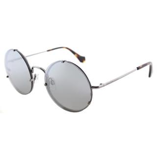 Balenciaga BA 0086 14C Shiny Light Ruthenium Metal Round Sunglasses with Smoke Mirror Lens