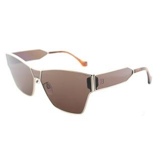 Balenciaga BA 0095 33E Brown Lens Gold Metal Geometric Square Sunglasses