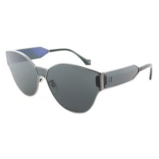 Balenciaga Grey Lens Dark Ruthenium Metal Frame Round Sunglasses