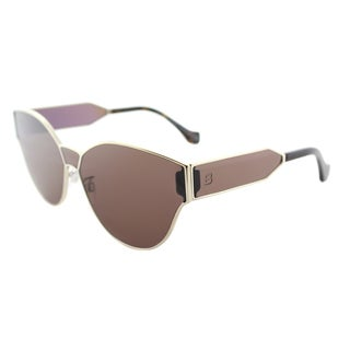 Balenciaga BA 0096 33E Gold Metal Geometric Round Sunglasses with Brown Lens