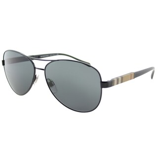 Burberry BE 3080 100187 Black Metal Aviator Sunglasses Grey Lens