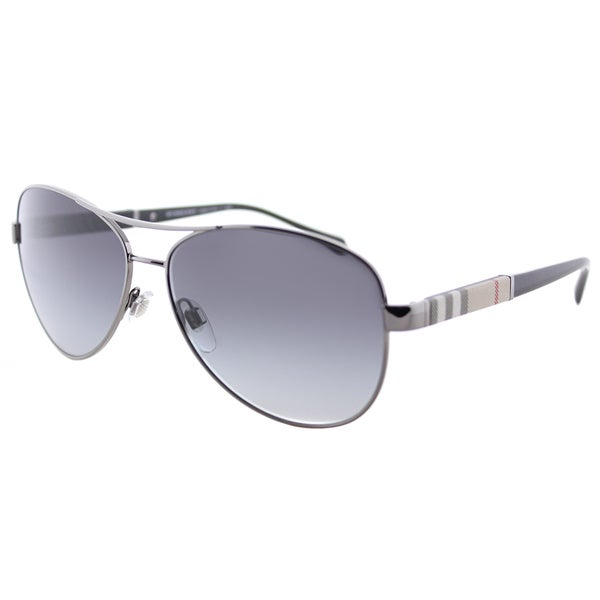9954bcc5c21 Burberry BE 3080 10038G Gunmetal Metal Aviator Sunglasses Grey Gradient Lens