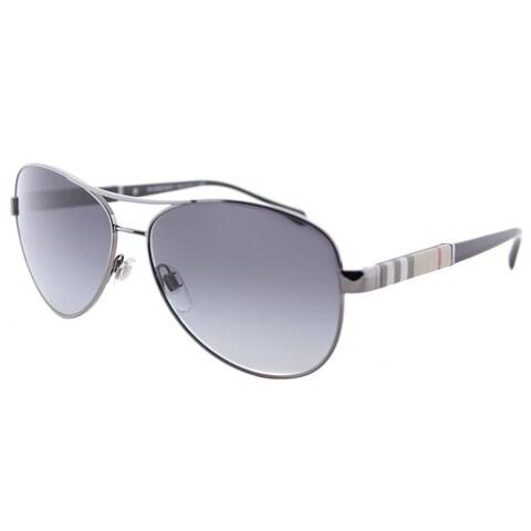 Burberry BE 3080 10038G Gunmetal Metal Aviator Sunglasses Grey Gradient Lens