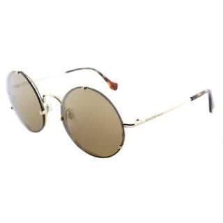 Balenciaga BA 0086 33G Gold Metal Round Sunglasses with Brown Mirror Lenses