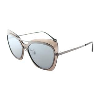 Balenciaga BA 0087 08C Shiny Gunmetal Grey Plastic Butterfly Sunglasses With Smoke Mirror Lens
