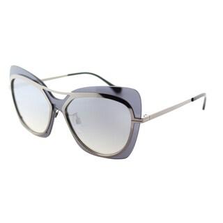 Balenciaga BA 0087 12C Shiny Dark Ruthenium Plastic Butterfly Sunglasses with Smoke Mirror Lens