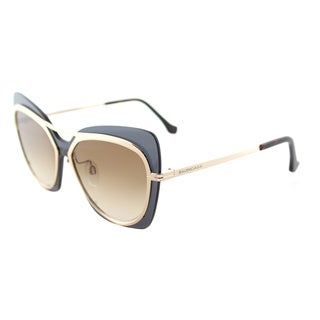Balenciaga BA 0087 28F Shiny Rose Gold Plastic Butterfly Sunglasses with Brown Gradient Lens