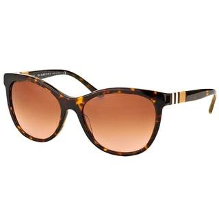 Burberry BE 4199 300213 Dark Havana Plastic Cat-Eye Sunglasses Brown Gradient Lens