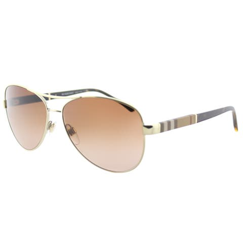 Burberry BE 3080 114513 Light Gold Metal Aviator Sunglasses Brown Gradient Lens