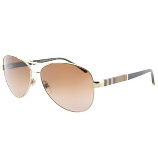 Burberry BE 3080 114513 Light Gold Metal Aviator Sunglasses Brown Gradient Lens
