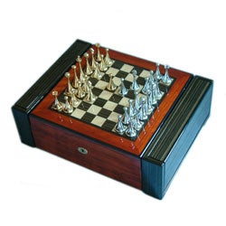 Chess-board High-gloss Brown Cigar Humidor with Locking Closure