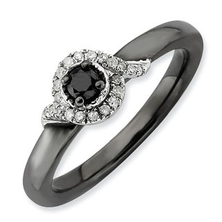Sterling Silver Affordable Expressions Polished Black & White Diamond Ring