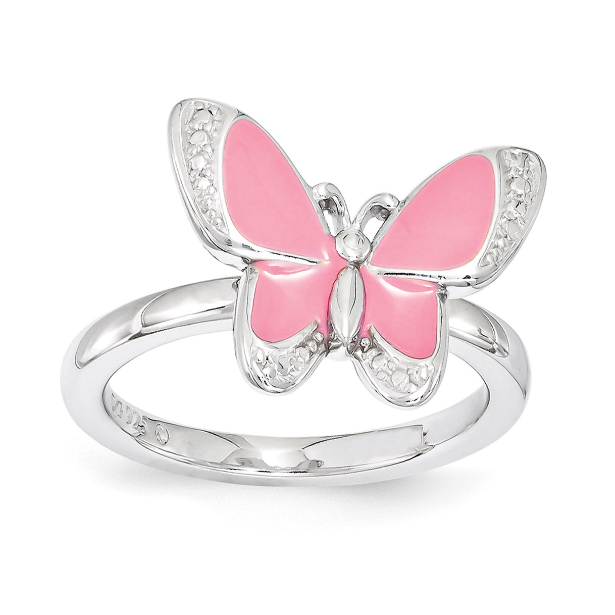 Sterling Silver Affordable Expressions Pink Enamel Butter...