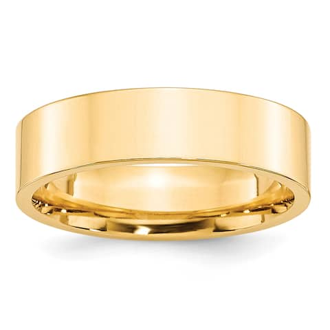 14K Yellow Gold Polished 6mm Standard Flat Comfort Fit Band by Versil