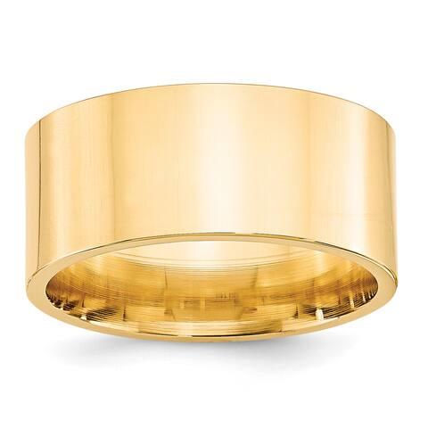 14 Karat Yellow Gold 10mm Standard Flat Comfort Fit Band by Versil