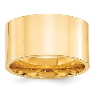 14 Karat Yellow Gold 12mm Standard Flat Comfort Fit Band