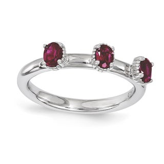 Sterling Silver Affordable Expressions Created Ruby Three Stone Ring