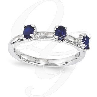 Sterling Silver Affordable Expressions Created Sapphire Three Stone Ring