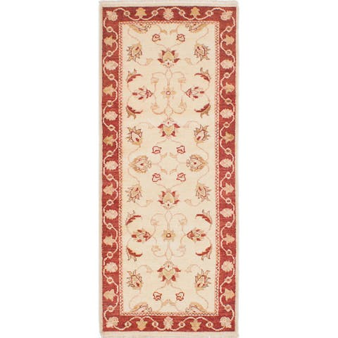 """ECARPETGALLERY Hand-knotted Chubi Collection Cream Wool Rug - 2'6"""" x 6'2"""" Runner"""