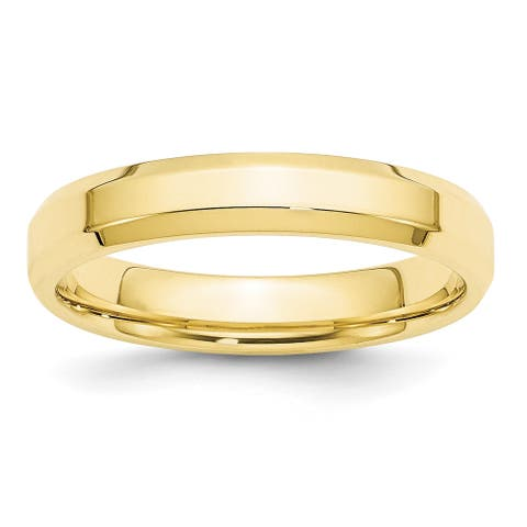 10K Yellow Gold 4mm Polished Bevel Edge Comfort Fit Band by Versil