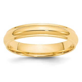 14 Karat Yellow Gold 4mm Half Round with Edge Band