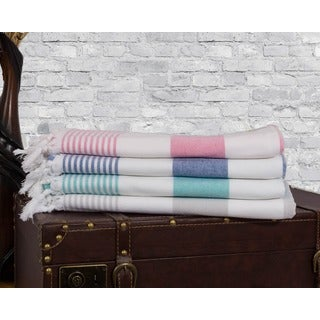 Somette 4-piece Multicolor High Absorbency Turkish Hammam Towel Set