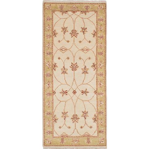 ECARPETGALLERY Hand-knotted Chubi Collection Cream Wool Rug - 2'7 x 5'11