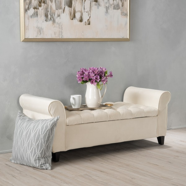 Shop Keiko Tufted Velvet Armed Storage Ottoman Bench By Christopher Knight Home In Ivory As Is Item Free Shipping Today Overstock 15920627