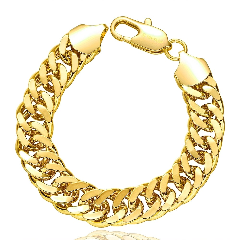 Hakbaho-Jewelry-Gold-Plated-Double-Chained-Men-039-s-Bracelet