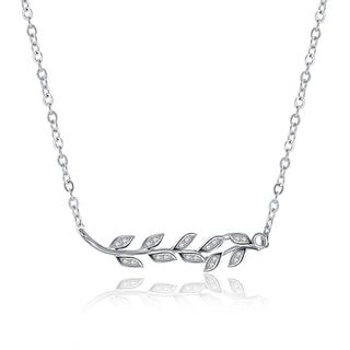 Hakbaho Jewelry Cubic Zircon Tree Branch Sterling Silver Necklace