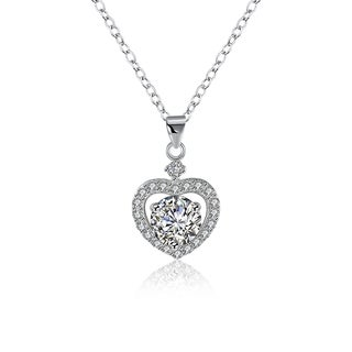 Hakbaho Jewelry Cubic Zircon Heart Stone Sterling Silver Necklace