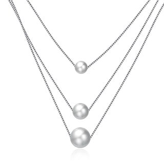 Hakbaho Jewelry Triple Faux Pearl Sterling Silver Necklace