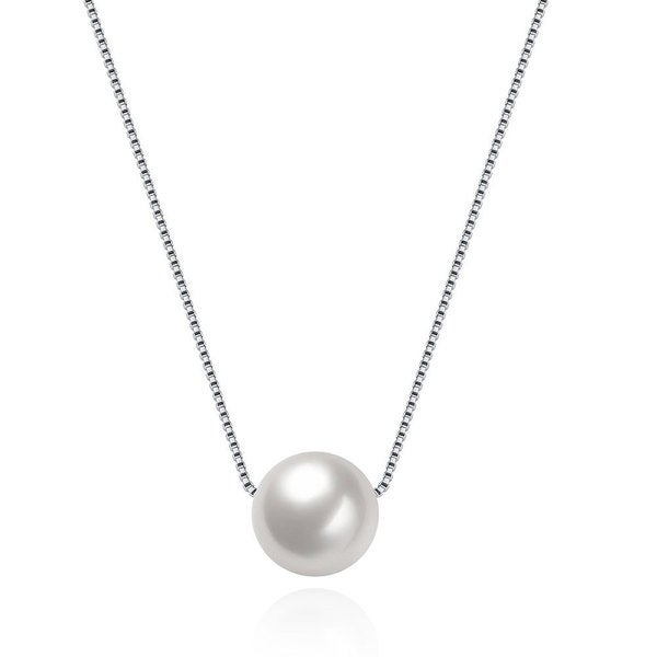 Hakbaho Jewelry Single Faux Pearl Sterling Silver Necklace