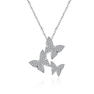 Hakbaho Jewelry Cubic Zircon Family Butterfly Sterling Silver Necklace