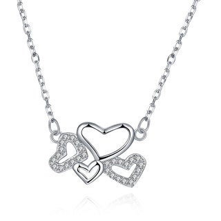Hakbaho Jewelry Cubic Zircon Sky full of Hearts Sterling Silver Necklace