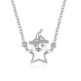 Cubic Zircon Emoji Sterling Silver Necklace