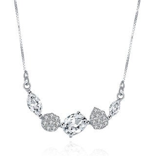 Hakbaho Jewelry Cubic Zircon Assorted Stones Sterling Silver Necklace