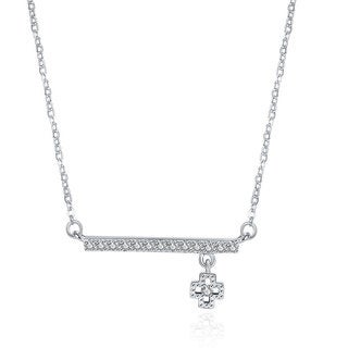 Hakbaho Jewelry Cubic Zircon Clover Bar Sterling Silver Necklace