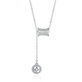 Hakbaho Jewelry Cubic Zircon 2PC Halo Sterling Silver Necklace