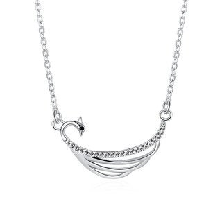 Hakbaho Jewelry Cubic Zircon Ocean Waves Sterling Silver Necklace