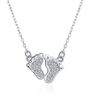 Hakbaho Jewelry Cubic Zircon a Childs Feet Sterling Silver Necklace