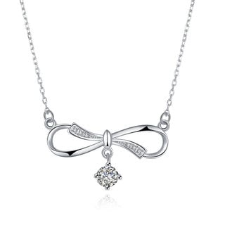 Hakbaho Jewelry Cubic Zircon Classic Bow Sterling Silver Necklace