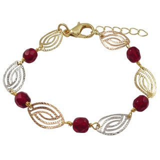 Luxiro Tri-color Gold Finish Red Glass Beads Marquise Link Bracelet