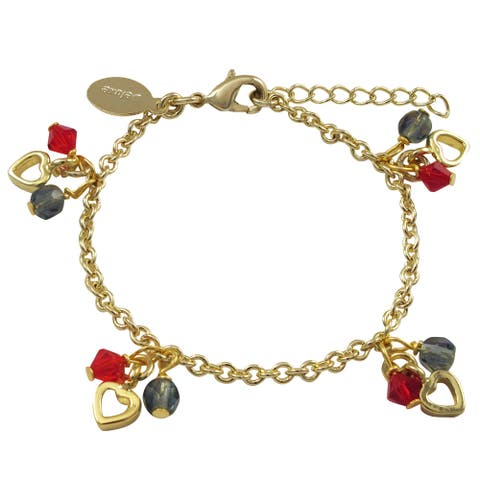 Luxiro Gold Finish Blue and Red Crystal Beads Heart Charm Bracelet