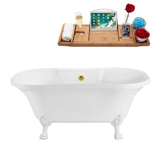 """60"""" Streamline N100WH-GLD Soaking Clawfoot Tub and Tray With External Drain"""