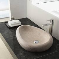Maykke Colstrip Stone Vessel Sink in White Travertine