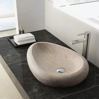 Maykke Colstrip Stone Vessel Sink in White Travertine