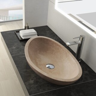 Maykke Livingston Stone Vessel Sink - Beige Travertine