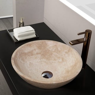 Maykke Helena Stone Round Vessel Sink - White Jade Travertine